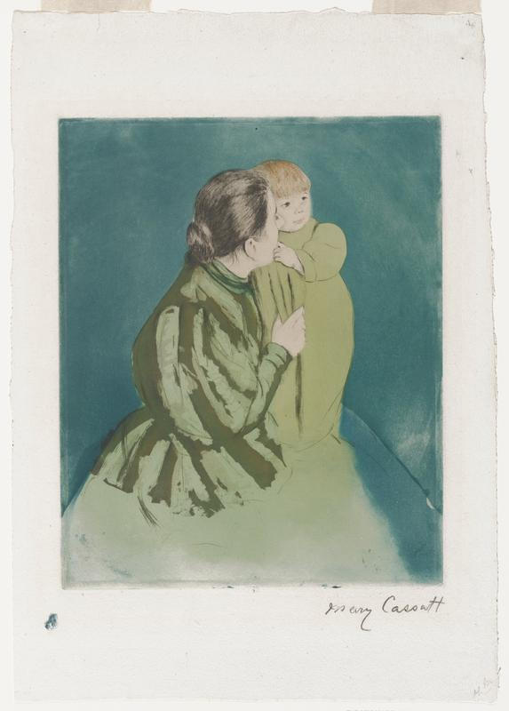 image of a woman with dark hair pulled back, wearing a green dress; holding a standing child in her arms; child is wearing a pale green smock; blue background