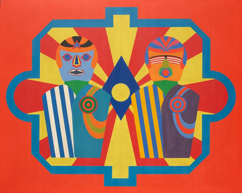 abstracted, simplified heads and torsos of two figures; figure at left has blue skin with blue, yellow, and red nose; blue cage-like element over white and dark blue mouth; eye covered with blue lenses in red goggle-like elements; orange helmet with black stripes and red and blue star; garment on figure at left is blue and white striped on left and lighter blue on right with green and red target on chest with looping bands of orange and pale green; figure on right has orange skin with gold nose; round red mouth with blue and green elements around it; red and white striped lenses in black glasses; blue and red helmet; left side of garment is blue and gold striped; right side of garment has red and blue target with looping red and blue bands on field of purple; red border; blue border element around figures with yellow and red radiating lines; blue diamond with yellow circle at center in center of image; black strip frame