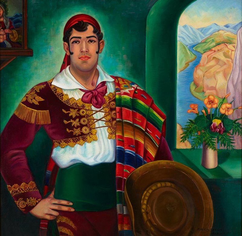portrait of a man with black hair and curling sideburns, wearing a red headscarf, short maroon jacket with elaborate gold trim and buttons with maroon laces across chest, matching maroon pants, white blouse, and green cummerbund, with a colorful Mexican blanket over his PL shoulder and holding a brown hat in his PL hand; green walls; Southwestern landscape through window in URQ, with bouquet of orange, purple, and yellow flowers in a vase on windowsill; portion of a portrait of a mother and child on a shelf in ULC