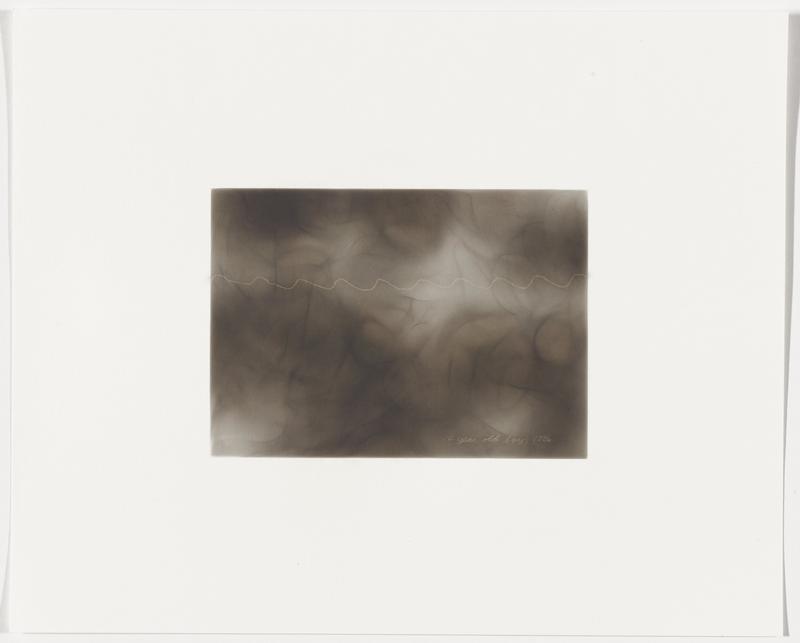 smoky grey background; zigzagging white line with short, regular peaks