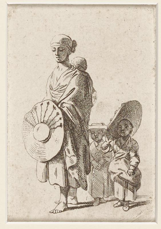 woman in draped clothing wearing wrapped headcloth and baby on her back carries large circular hat and stands barefoot on left; child wearing draped clothing and large hat at an angle at right; behind them is smaller child in dress and hat; shadows fall to right; light tan paper with orangish flecks