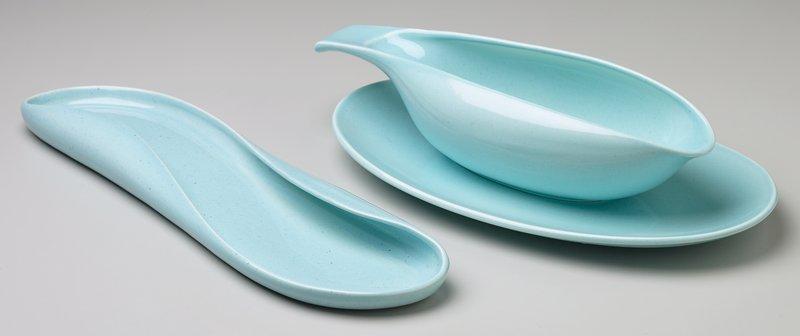 oval shaped, nearly flat dish; light blue (glacier blue) glaze