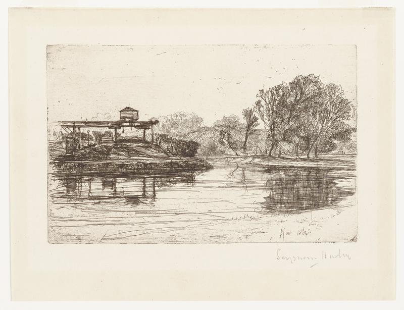 black ink on off-white paper; horizontal lines across lower area of image creates water; trees along water at middle and right side of image; at right side of image poles support wharf/dock (?) with small pointed-roof building on top; behind dock, pole with lamp on top (?) and small buildings in distance; to right of dock on ground, four small human figures; reflections of dock and trees in water; some faint horizontal lines in sky