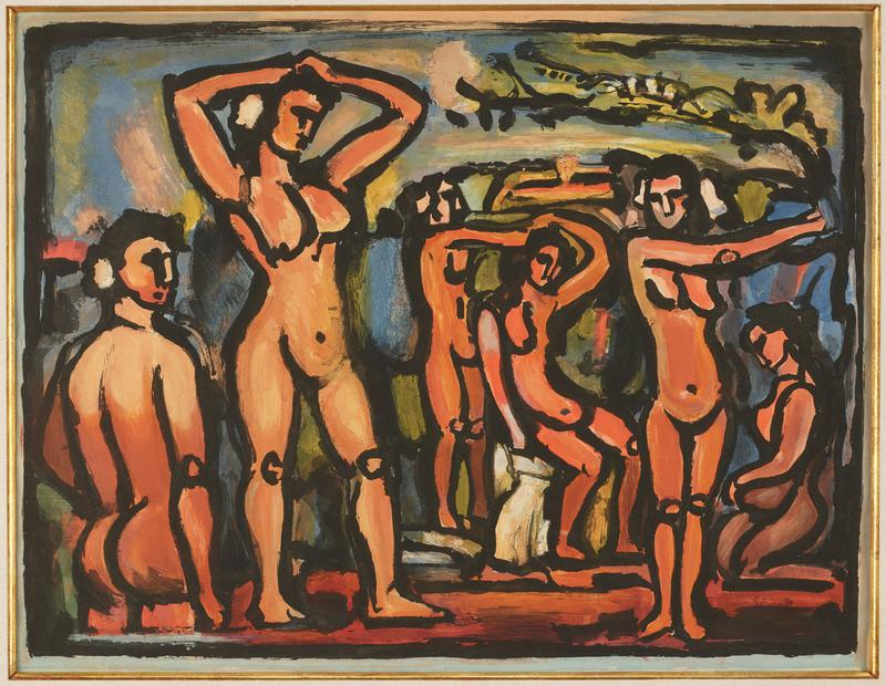 abstracted female nude figures standing and seated; largest figure has her arms on her head with elbows akimbo; figures are drawn with thick, black lines and colored with deep, warm tones; abstract background in blue and green