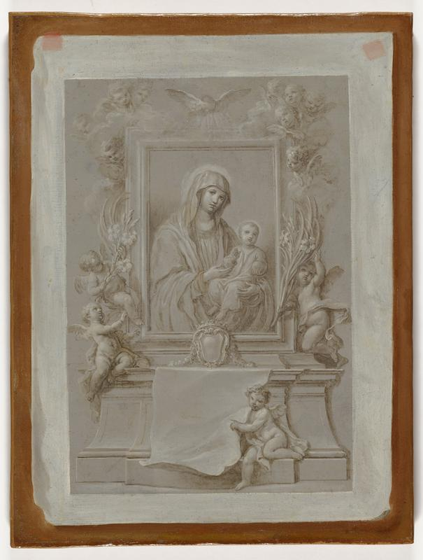 monochrome image of an alter (or tomb?) that features a framed, 3/4 portrait of the virgin and child; many putti with wings surround the portrait, one putto sits along bottom of architectural feature and points toward drapery at bottom center
