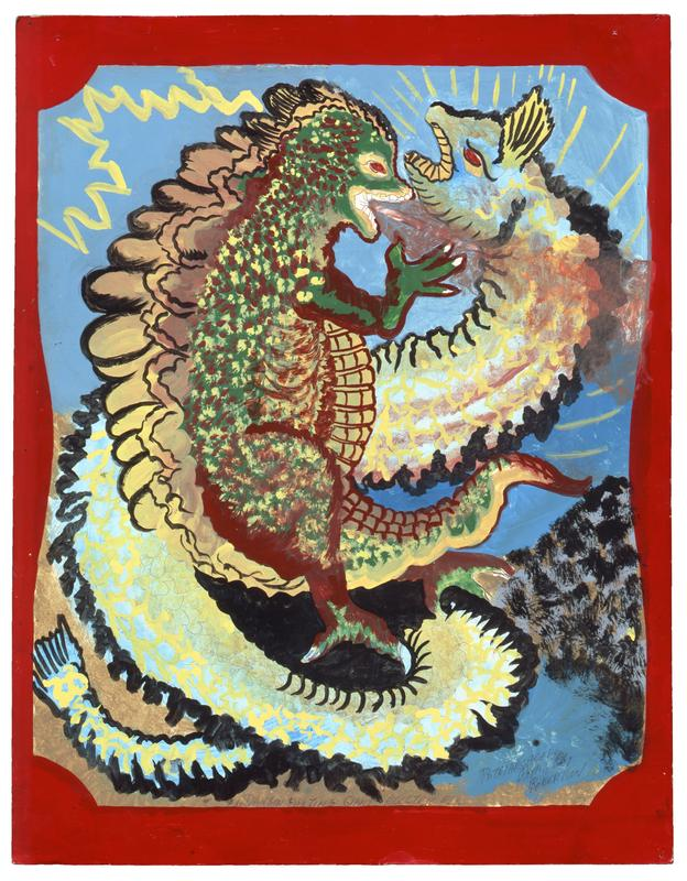 "recto: Godzilla-like dragon in green and dark red with tan back plates at left confronting a blue, green, and yellow eel in a reverse S shape; yellow zigzag in ULC; yellow radiating lines in URC; blue ground at top, tan in LLC, dark form in LRC; red border verso: portion of a newspaper ad on Lowe's pasted at top in a T shape; text at center in a sketch of an open book; grid at bottom with numbers and ""BATH ROOM"" in LRC"