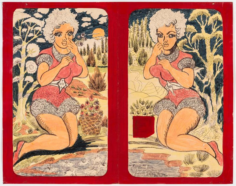 "two rectangular images with rounded corners in a vertical format with red painted border; roughly mirror images; each image has a curvy woman with short curly hair and large eyes wearing a pink and white leotard-like outfit, seated beside a pond with a tree and a basket of flowers; woman at left holds her PL index finger beneath her PL eye and has ""NETIA"" on her belt buckle; fish in pod on left image; woman at right holds her fist beneath her PR cheek and has ""ANN"" on her belt buckle"