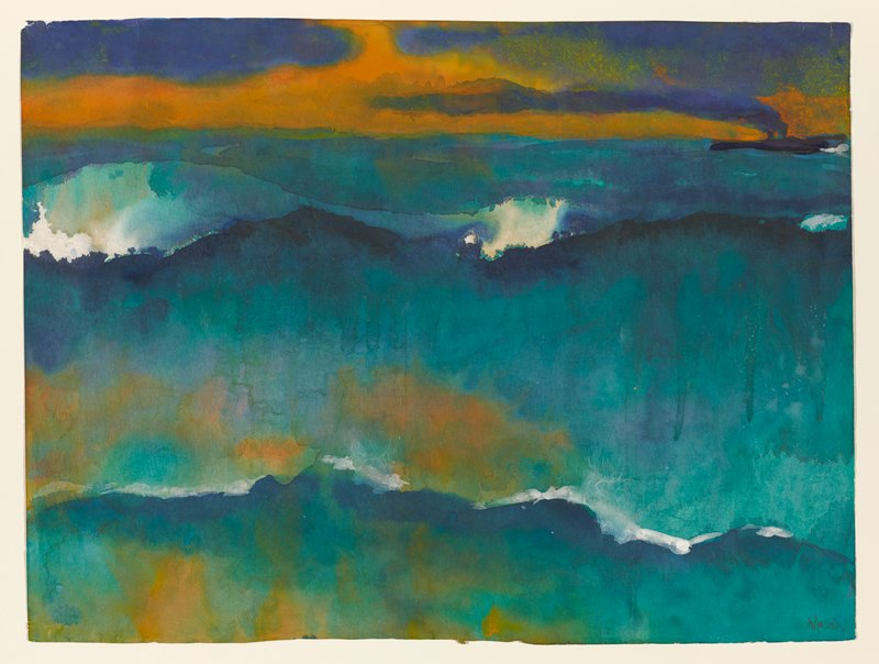 abstracted sea scape in greens, blues, dark orange and white
