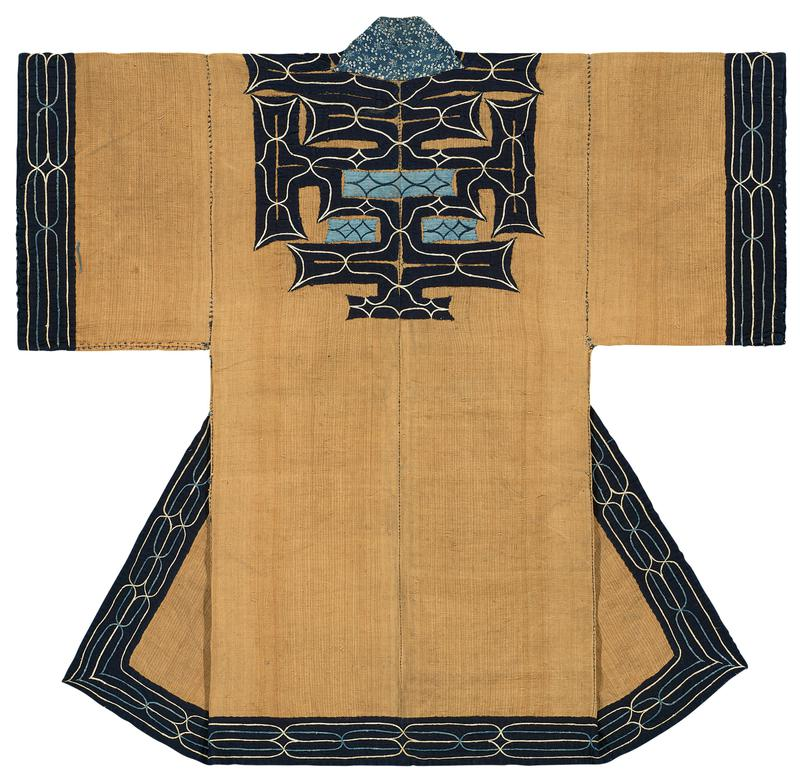 tan robe with dark blue applique trim embellished with blue and white embroidery; embroidery along sleeve cuffs and bottom hems has intertwined oval pattern; embroidery at yoke and back center has smaller pattern with light blue patchwork; blue and white floral print collar; two dark blue ties at waist (PR hip and edge of PL center); printed blue and white tie at PR center edge