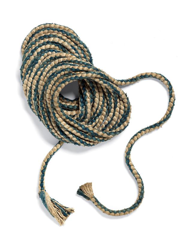 blue and cream-colored woven silk cord with fringed ends