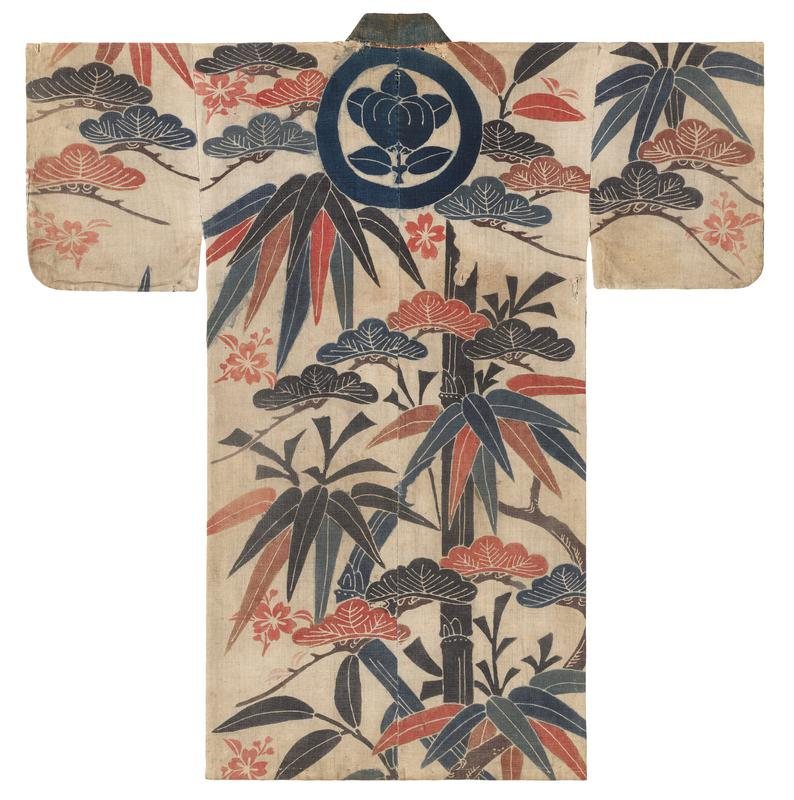 large bamboo leaves and paulowina foliage pattern; indigo round seal top back C; scattered hibiscus flowers; red, black, blue palette against off-white background