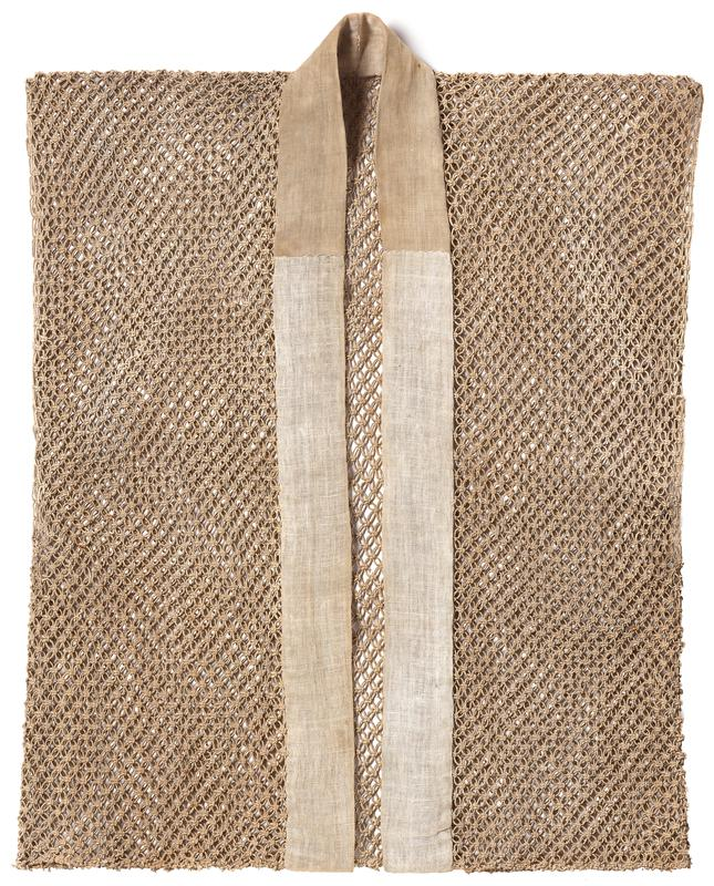 beige woven vest, with cotton edging at front