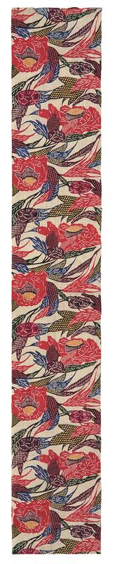 rectangular fragment of floral patterned fabric; red and purple flowers with green, blue, black and yellow leaves and vines; top section of pair