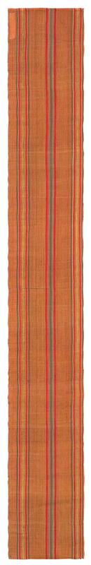 long rectangular fragment of orange cloth with red, green, and yellow stripes