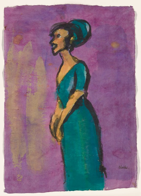 profile view of standing woman wearing green dress and hat against purple ground