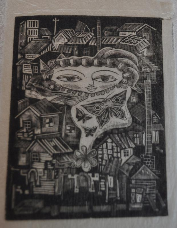 """black and white image of a town or village with stylized image of a face in top center, with wispy undefined body with three butterflies stacked at an angle; flower at bottom of """"body"""""""