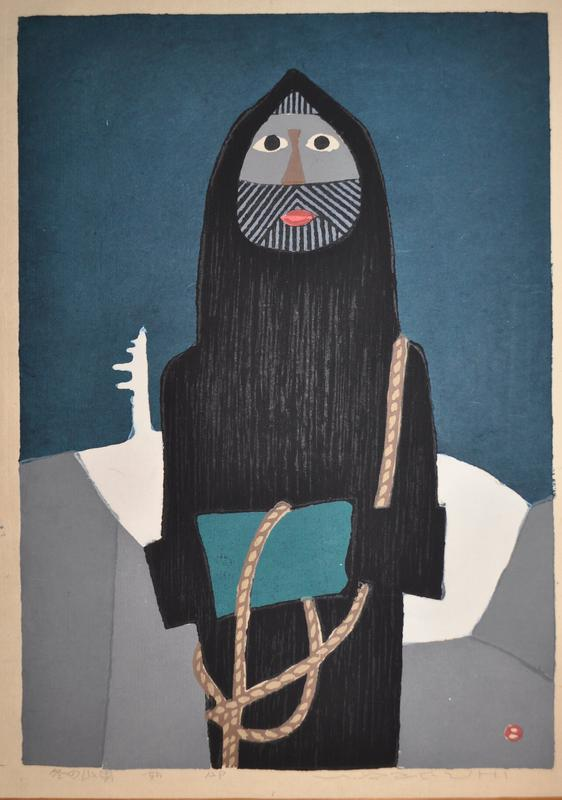 stylized figure with beard wearing a black cloak, holding a rope; turquoise background; white shape behind figure; gray bottom