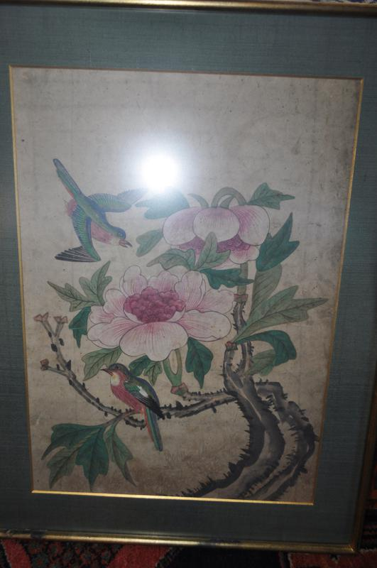two multicolored birds with two pink peony flowers; received framed