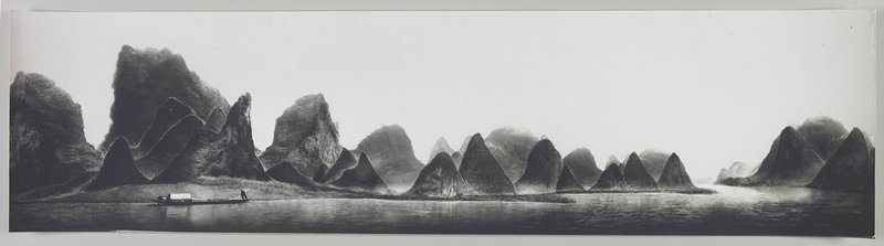 standing figure rowing a boat at LLC; large wedge and triangular-shaped land forms throughout; Li River, Peoples Republic of China