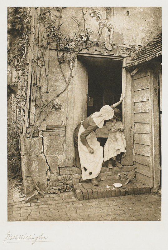 crying child standing in doorway with woman in bonnet and apron on child's PR; broken saucer on step on front of figures; from a portfolio with essay on photographer