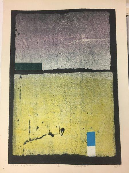 abstract; black ground; variegated lavender rectangle at top; yellow rectangle at bottom; smaller green, white, and turquoise rectangles; black on verso