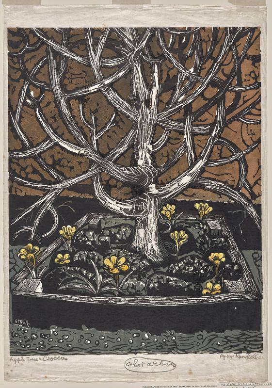 bare tree; square flower bed beneath tree with orange-tan flowers; brown background