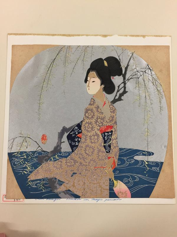 woman in tan and purple floral patterned kimono, with a gnarled branch and stylized water behind her; silver sky