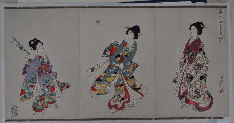 assembled triptych; three women in richly decorated kimonos playing battledore