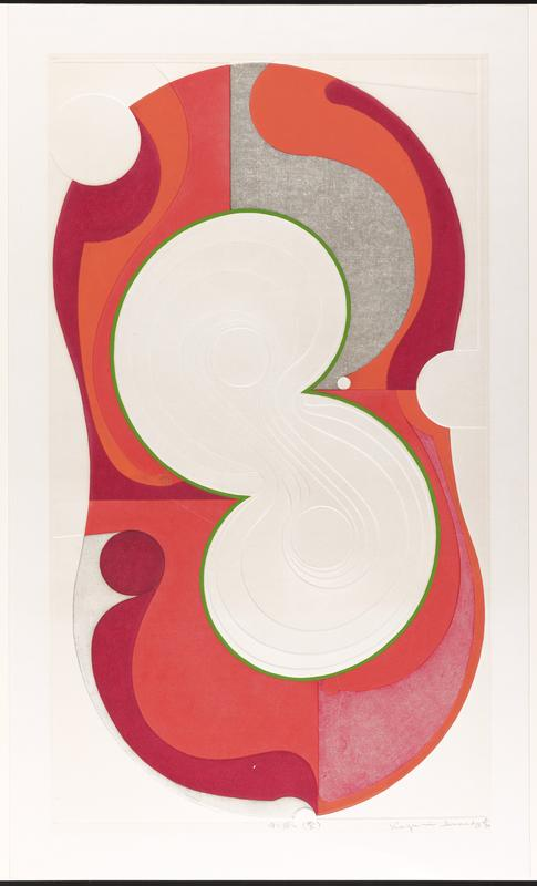 figure 8 shape at center with emobssing; red, orange, and grey curving forms in outline; inner outline of 8 in green