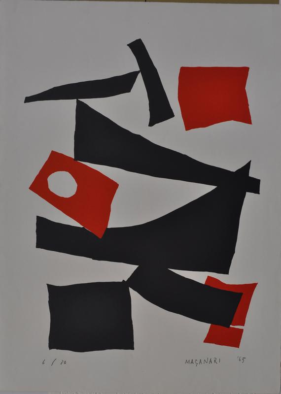 composition of black slightly curved wedge shapes against neutral background; four red square shapes punctuate at UR, LC, and LRC; box at L had white circle in it