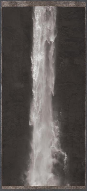 black and white photograph of stream of falling water against textured black ground; blue-grey, rust, and silver mount; mounted as a hanging scroll