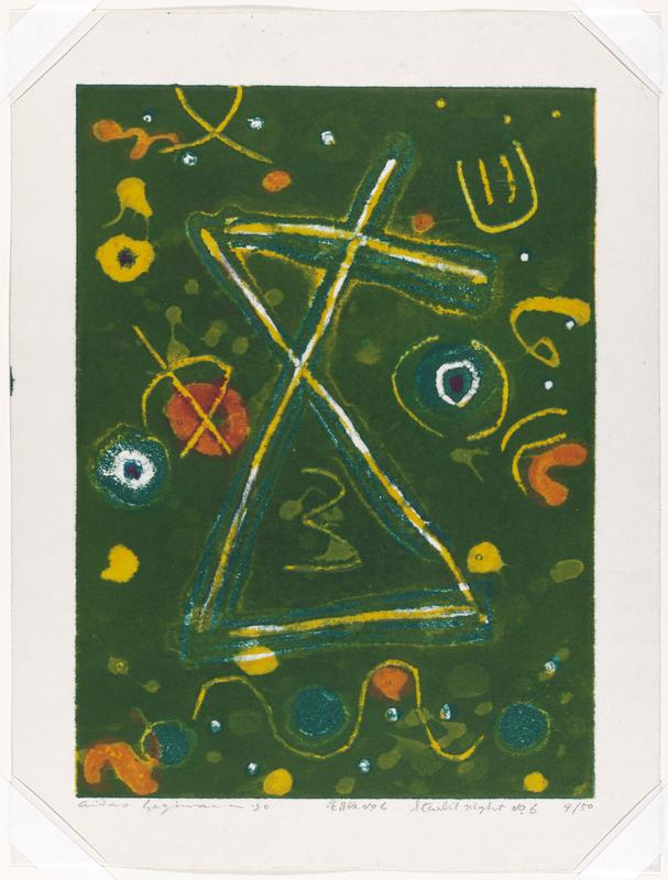 abstract image with green background; stacked triangular shapes in yellow and blue lines; orange and yellow blobs throughout background; slight mica sheen throughout