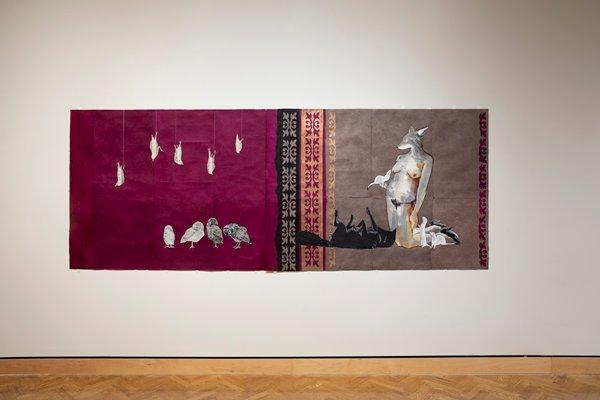 a: purple ground; five white birds hanging from the top of the image by strings; with four white owls standing in the LR corner b: grey/brown ground, purple along L edge with applique in gold, black and purple; image of a kneeling figure with a coyote head with two white ferrets by her feet and one in her hand held to her breast; a black coyote laying on his back in front of the figure