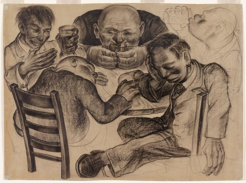 five men drinking at circular table; clockwise from UL: man holding glass in PL hand; man with chin on table, staring in glass; unfinished sketch of man drinking; man with eyes closed and head resting in PR hand; man resting head on table