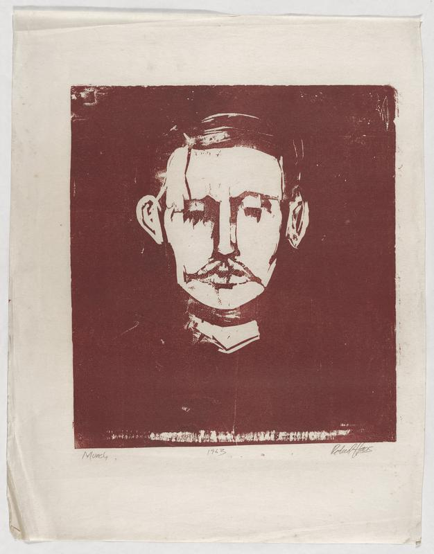 portrait of mustached Munch in white on maroon background
