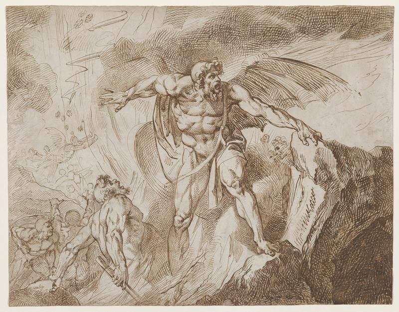 drawing of naked, muscular male figure with beard and wings at center, standing atop rocks with arms out wide; more figures in LLQ (two of which are sketched in, other are line drawings), nearest with club in hand