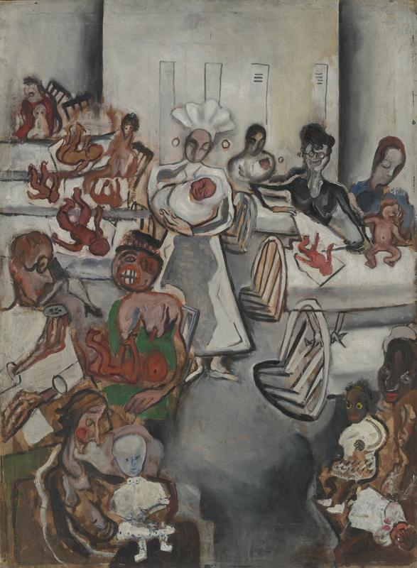 interior scene at a maternity ward; a nurse in white stands at C, holding a swaddled baby stands between two rows of beds; various female figures and babies throughout, including a woman in the LL holding a bald child in white, a doctor sitting with a woman in green with her shirt pulled down and a baby in her lap at LC, children lying on beds in the UL background, a black woman holding a toddler and a baby in the LR, and two more women at RC, wrapping and attending to babies