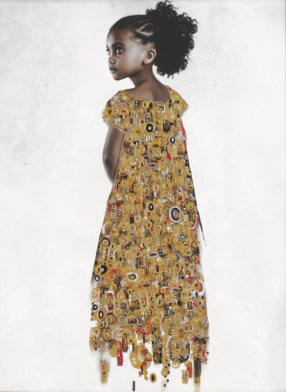 portrait of little Black girl with her hair in a ponytail with braids, looking over her shoulder; girl wears a gold dress patterned with raised circles and ovals in gold, white and black; hem of dress trails off into rectangular and ovoid patterns; received framed in elaborate gilt frame