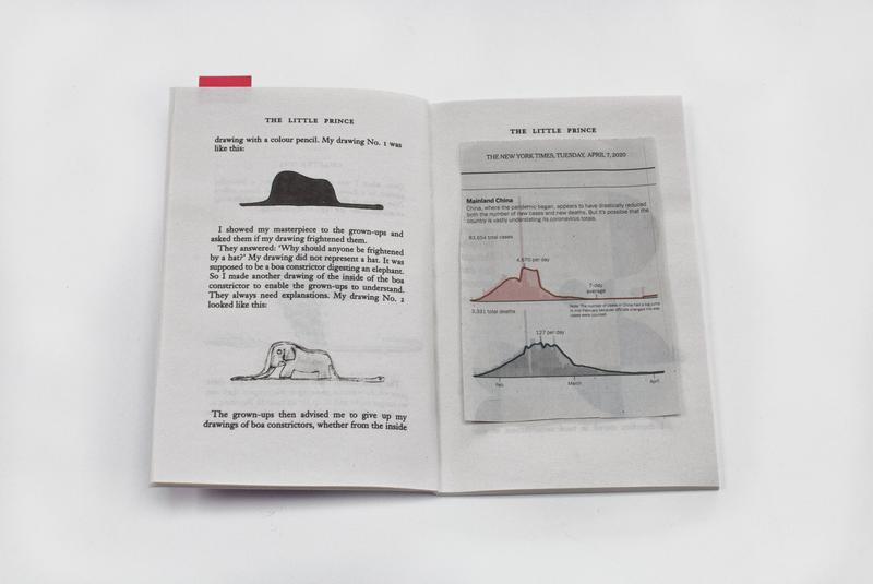 "color image of a newspaper clipping with two graphs on top of an open copy of ""The Little Prince"""