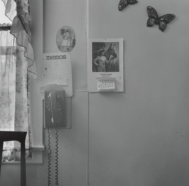 black and white image of a rotary dial wall telephone with a memo board above it; calendar with a picture of a woman with a horse at center; butterfly wall plaques in URC; window at left; image of a cartoon woman talking on an old-fashioned telephone above memo board