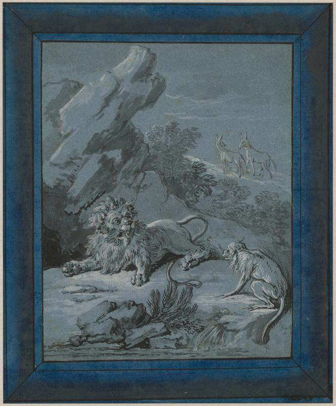 male lion being confronted by a monkey in LRC; two antelope-like quadrupeds on ridge in URC; rock formation behind lion; dark blue painted frame-like border; received matted and framed