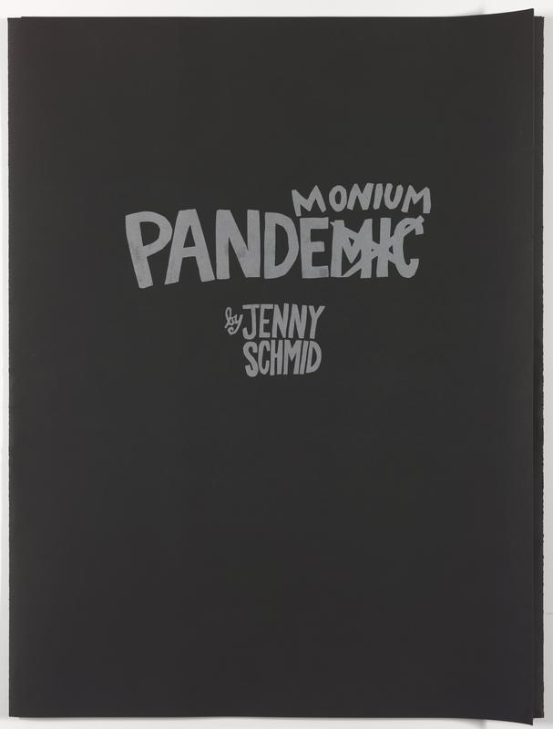 """black paper folder; silver text on front: """"MONIUM / PANDEMIC [MIC crossed out] / by JENNY / SCHMID"""""""