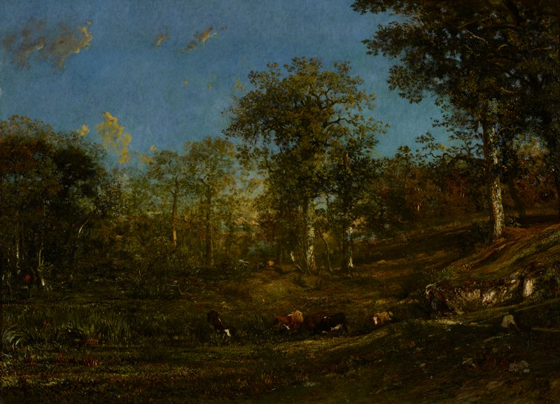 Landscape with figures and cattle.
