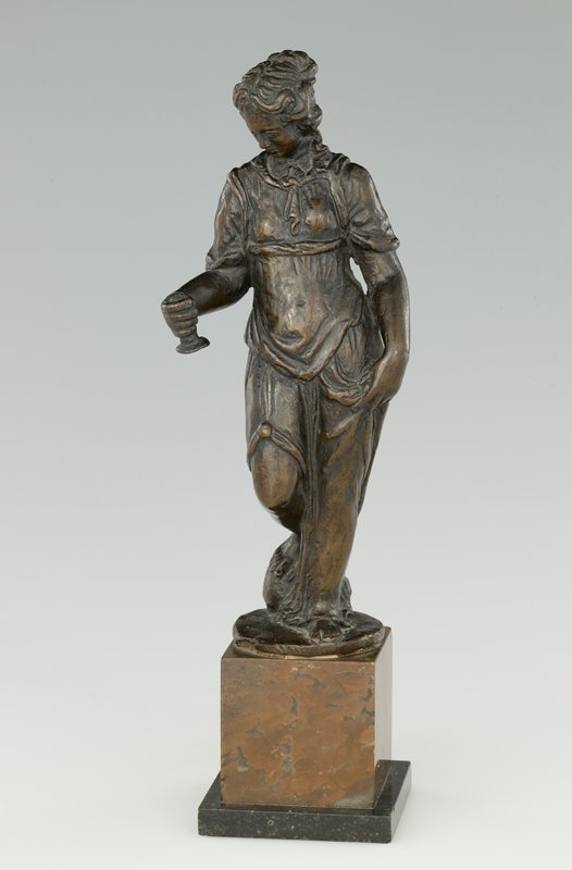Free standing figure, modeled in the round, with a rich brown patination.