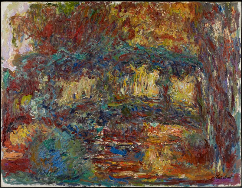 Impressionist. Brook with a bridge.