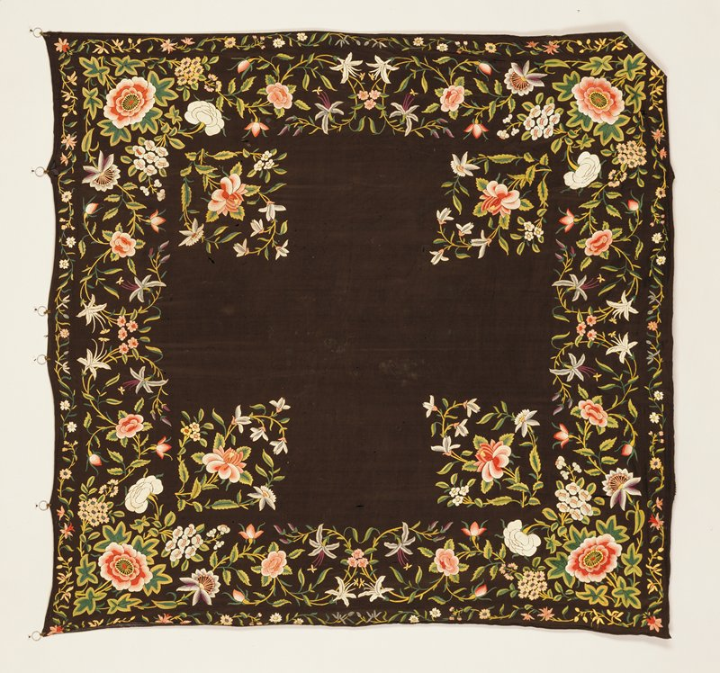 Shawl, black ground with floral motives embroidered in colors.