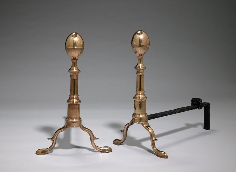 pair of andirons with oval finials