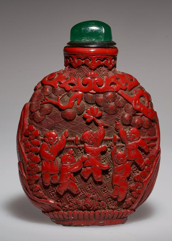 cinnabar lacquer, red; green glass top; beautifully carved; children celebrating a fete