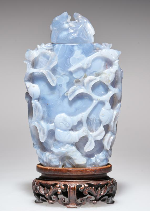 Snuff bottle. Blue agate. Carved.