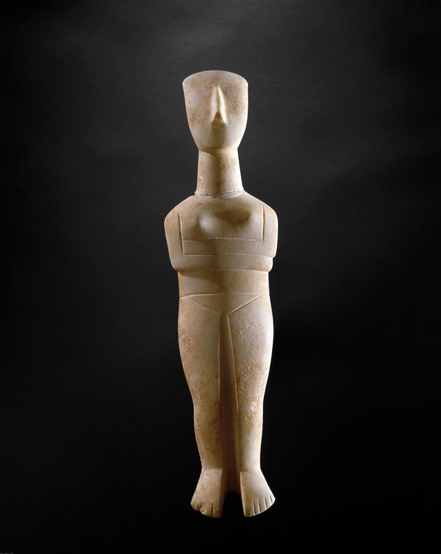 "may represent the nature goddess or ""Great Mother"" of early man.; simple, schematic standing figure with crossed arms"